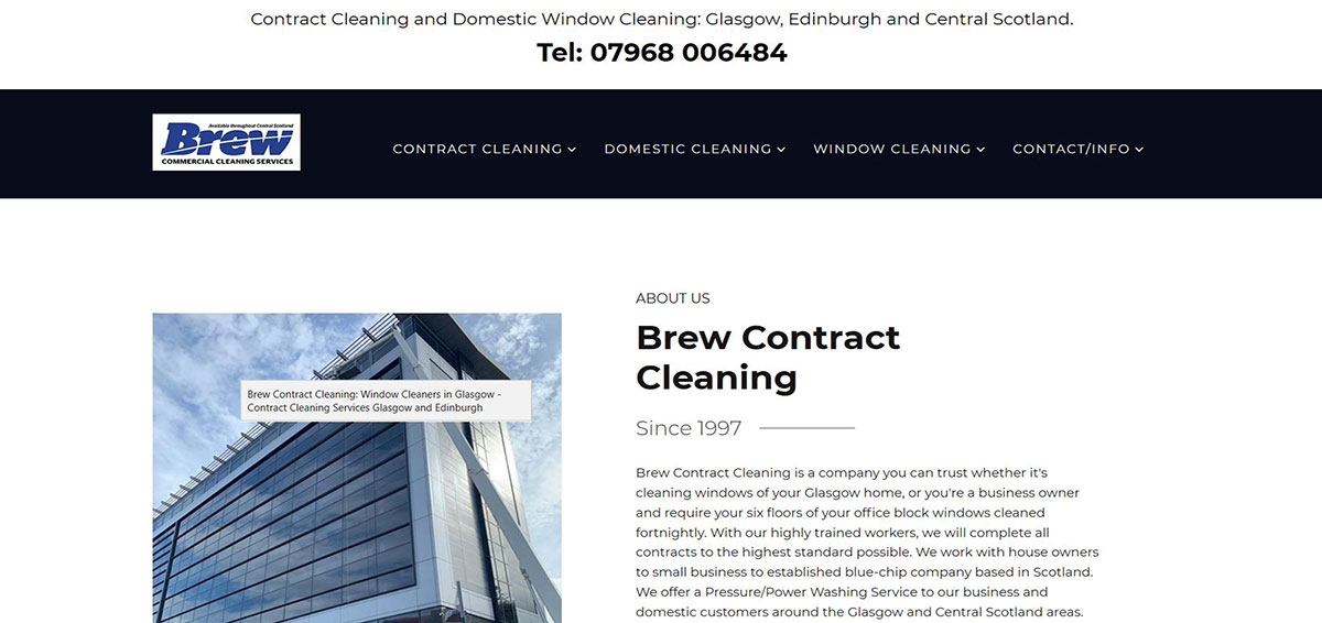 Brew Contract Cleaning is a Cleaning/Commercial Services and Domestic Window Cleaning company based in Glasgow.