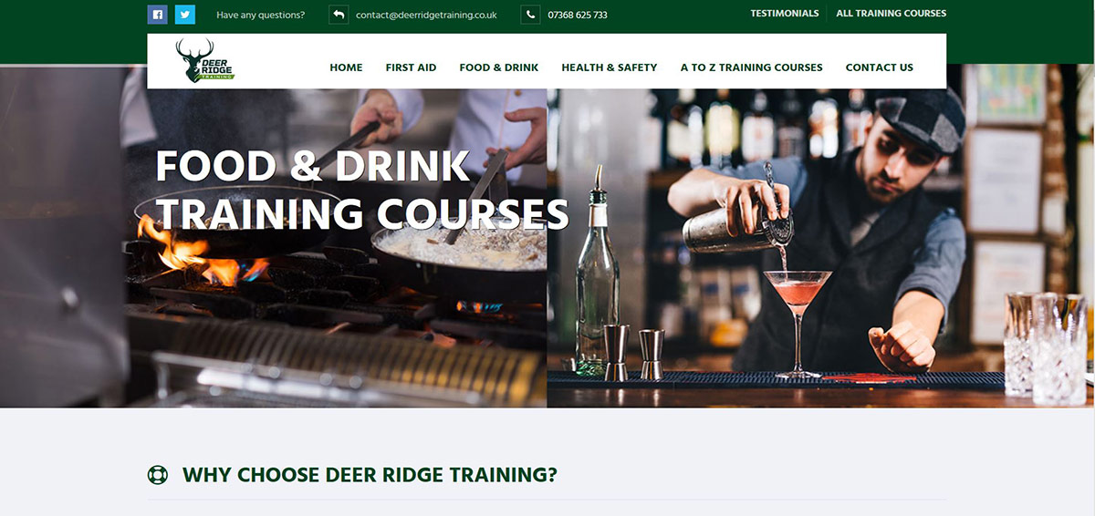 Deer Ridge Training: First Aid Training, Food and Drink Training, Health & Safety Training - UK Wide Service